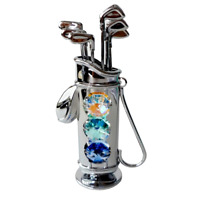 Crystocraft Golf Bag Caddy Crystal Ornament Swarovski Elements Golfer Gift