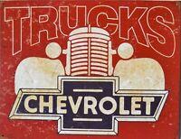 PLAQUE métal USA vintage CHEVROLET trucks - 40 X 30 CM .