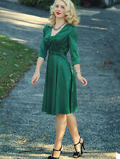 Hellbunny 1940s Inspired Green Stretch Satin Eve Dress Retro S UK 10