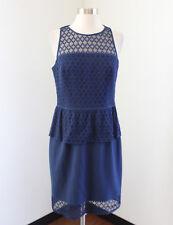 Tahari ASL Levine Navy Blue Mesh Cutout Peplum Dress Size 6 Cocktail Office