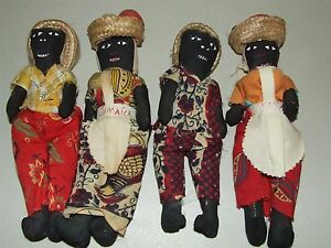 4 Antique Handmade Jamaica Carribean Voodoo Rag Cloth Primitive Folk Art Dolls