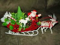 Vintage Christmas - Santa red velvet Sleigh Reindeer & lamb & holly - Hong Kong