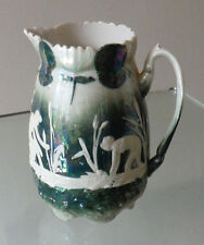 VICTORIAN LUSTRE WARE JUG - SCANT CLAD MAIDENS/BULLRUSHES    *