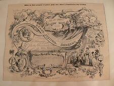 ancien lithographie tiree journal 19e billet bal institution des creches paris