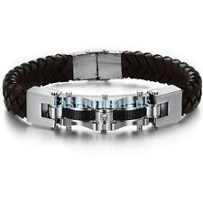 12mm Black Leather Braided w/ Stainless Steel Men's Bracelets Bangle Wristband