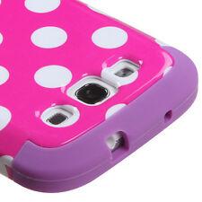 Samsung Galaxy S III 3 Rubber IMPACT TUFF HYBRID Case Cover Pink Dots Purple