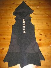 VELVET PLUME grey wool pixie hood vest winter coat XS S hippie boho dark mori