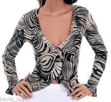 Gray/Black Zebra Sweater Knit L/Sleeve Shrug/Cover-Up S