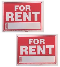 """NEW  2 Sign -  FOR RENT - Plastic Size: 9"""" x 12"""" 2pcs"""