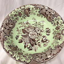 """SPODE BLUE ROOM GARDEN COLLECTION ASCOT CEREAL BOWL 8"""" BROWN BLUE ROSE MINT"""