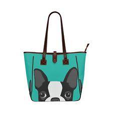 Dog Boston Terrier Art Waterproof Fabric Women's Classic Tote Shoulder Handbag