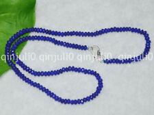 "2x4mm Dark Sapphire Faceted Roundel Gems Beads Necklace Silver Clasp 18"" JN708"