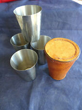 HUNTING/FISHING FIELD DRINKING CUPS IN LEATHER CASE ENGLISH MADE