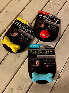 Lot Of 3 flavors NEW Playology SMALL Little Dog Toys Chews Bones + Ball