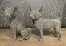 More details for set of 2 silver art large sparkly chihuahua ornaments 31cm tall