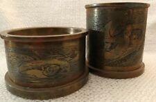 Vintage Engraved Viking Battle Scene Desk Set, Pen Cup, Paperclip Bowl, Gift