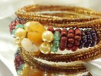 WOW Very Pretty Vintage 1970's Art Glass Seed Bead Lovely Wrap Bracelet 627ag99