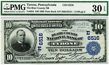 1902 PLAIN BACK BLAIR COUNTY NATIONAL BANK OF TYRONE PA $10 NATIONAL CURRENCY