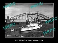 OLD POSTCARD SIZE PHOTO OF THE US NAVY USS ASTORIA IN SYDNEY HARBOUR c1934