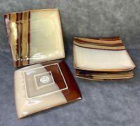 "Set of 8 Sango Avanti Brown 4722 Square Dinner Plates 11 1/4"" Brown Stripes"