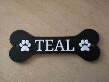 Personalisable Pet House/Crate/Shelter Name Sign Plaque Dog Bone Shape with Paws