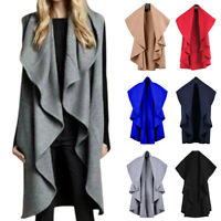 Womens Waterfall Long Cardigan Jacket Trench Coat Duster Casual Outwear Overcoat