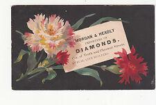 Morgan & Headly Diamonds Mutual Life Bldg Flowers Vict Card 1880s