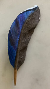 Hand Carved Blue Jay Blue Bird Feather Brooch Pin -Wood Wooden Signed Rogers