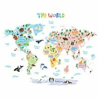 DECOWALL DLT-1615 Animal World Map Kids Wall Stickers Wall Decals Peel and Stick