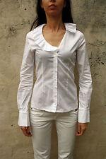 DENNY Rose Donna Casual Shirt Bianca Stretch a Maniche Lunghe Italia S Piccolo