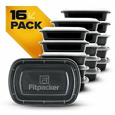 Official Fitpacker Plastic Containers - Meal Prep - Lunch/Bento Box - 16 pack
