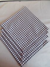 "Set of 4 Brown Gingham Fabric Napkins 19"" x 19"" Square (65% Poly 35% Cotton)"