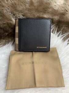 NWT Burberry Men's Bifold Wallet In Black Crossgrain Leather & Khaki Plaid