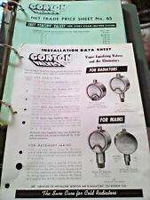 circa 1960 Gorton Valves Install Data & Net Trade Price Sheets Vintage Brochures