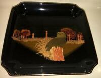 Otagiri OWL  Small Square Tray Trinket Dish Lacquer ware Japan black gold Vtg