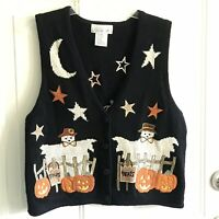 Mandal Bay Fall Halloween Sweater Vest Size S/P  Pumpkins Scarecrow Ghost