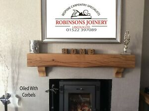Oak mantelpiece mantle with corbels floating shelf 6x6 inch oiled hand crafted