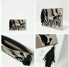 ZARA EMBROIDERED LEATHER CLUTCH REF. 4389/104 NWT!!
