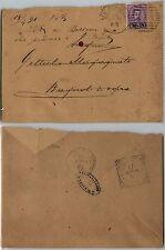 UMBERTO I 20c su 50c(58) isolato su busta Venezia->Bagni di Sopra 16.4.1891