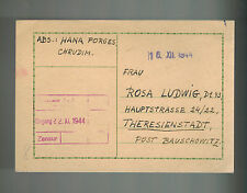 1944 Chrudim Germany Theresienstadt Concentration Camp Postcad Cover Rosa Ludwig