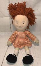 FAO Schwartz VTG Girl Plush Cloth Doll Orange Hair Original Dress