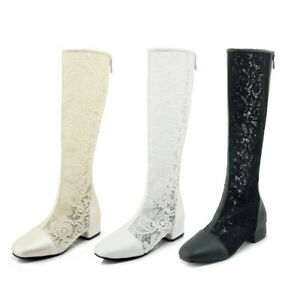 Womens European Breathable Back Zipper Mesh Lace Round Toe Knee High Boots Shoes