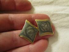 """Gold Tone & Grey Enamel Kite Shape Earrings - 1"""" long"""