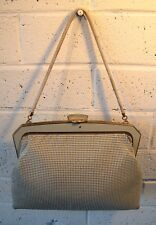 Vintage Off white OROTON Fine Mesh BAG Clutch Top handle 60s Retro Evening Chic