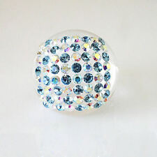 Luna Bianca Blue Clear Swarovski Crystal Clear Acrylic Domed Ring Italy Size 7½