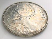 1943 Canada 25 Twenty Five Cents Quarter Silver George VI Circulated Coin I366