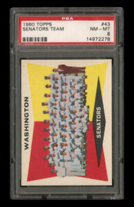 1960 Topps Set Break # 43 - Washington Senators Team PSA 8 NM-MT
