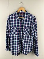 Arizona Jeans Co Vintage Men's Western Long Sleeve Shirt Size L Blue Check