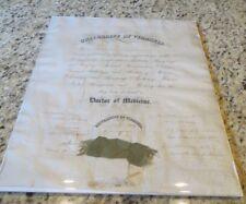 1877 University of Virginia Medical School Diploma - James Garner Williamson