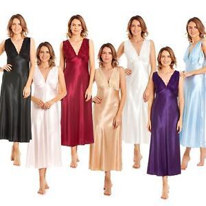 Womens/Ladies Long Satin Chemise Nightie Nightdress Size 10-28 NEW